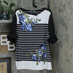 NWT Floral Striped Knit Top 3X Deep Black / White